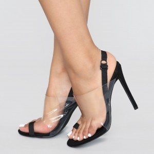 Black Elastic Strap Transparent Slingback Heels Sandals Clear Shoes