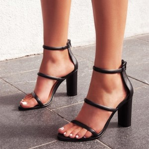 Black Tripe Straps Open Toe Chunky Heel Ankle Strap Sandals
