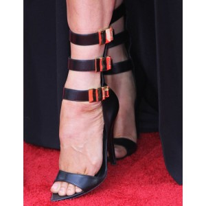 Black Triple Buckles Stiletto Heels Sandals