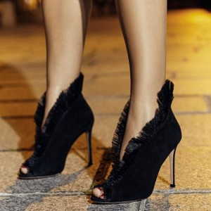 Black Tulle Suede Boots Peep Toe Stiletto Heel Ankle Boots