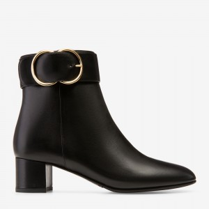 Black Vegan Leather Chunky Heel Boots Buckle Ankle Booties