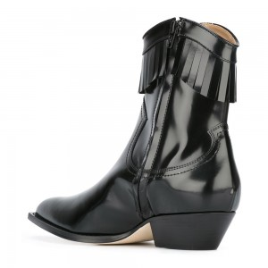 Black Vegan Leather Fringe Boots Chunky Heel Ankle Boots
