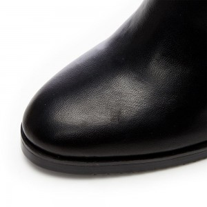 Black Vegan Leather Long Boots Casual Zipper Over-the-Knee Boots
