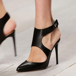 Black Vegan Leather Slingback Pumps Pointy Toe Stiletto Heel Pumps