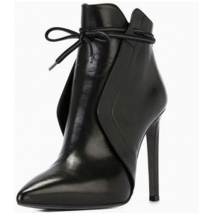 Black Vegan Leather Stiletto Boots Pointy Toe Ankle Booties for Work