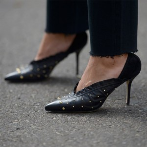 Black Vegan Leather Studs Office Heels Pointy Toe Stiletto Heel Pumps