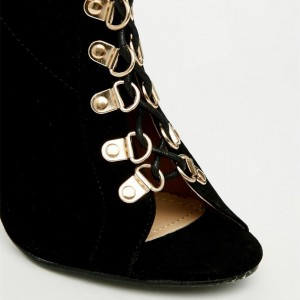 Fashion Black Peep Toe Lace up Boots Velvet Stilettos Ankle Boots