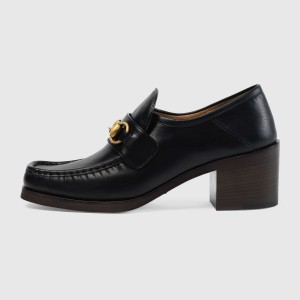 Black Vintage Chunky Heel Loafers for Women