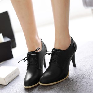 Women's Black Vintage Heels Round Toe Ankle Boots Lace Up Oxfords