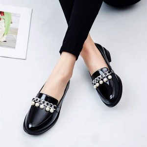 Black Patent Leather Round Toe Pearls Vintage Flat Loafers for Women
