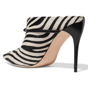 Black Zebra Mule Heels Pumps