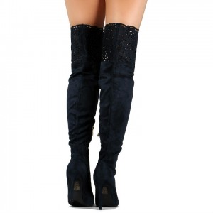 Black Zip Suede Pointy Toe Hollow out Wide Calf Thigh High Heel Boots