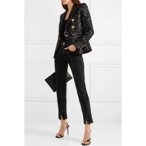Women's Black Double-breasted sequinned Blazer