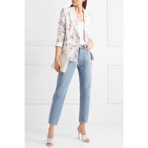 Women's White Double-breasted Floral-print Blazer