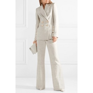 Women's Beige Double-breasted blazer for Work