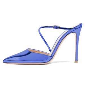 Blue Mirror Leather Pointy Toe Mule Heels for Office Lady