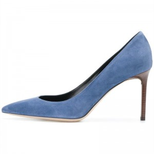 Blue 4 inch Heels Pointy Toe Stiletto Heels Pumps Office Shoes