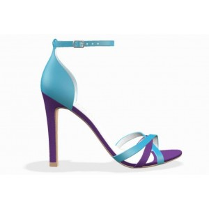 Blue and Purple Satin Stiletto Heels Ankle Strap Sandals