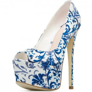 Blue and White Floral Heels Peep Toe Platform High Heels Pumps