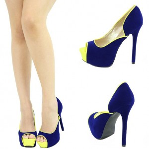 Blue And Yellow Suede Platform Peep Toe Heels Pumps