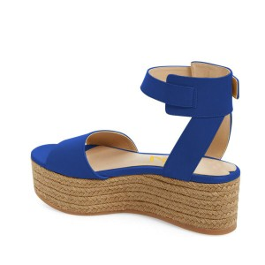 FSJ Blue Platform Sandals Open Toe Ankle Strap Shoes US Size 3-15