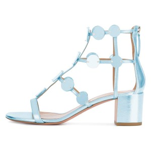 Light Blue Block Heel Gladiator Heels Sandals