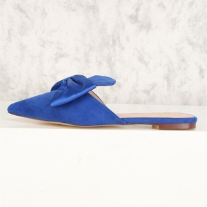 Blue Bow Flat Mule Loafers for Women