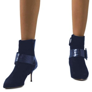 Blue Buckle Chunky Heel Boots Ankle Boots