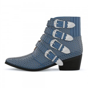 Blue Buckles Studs Fashion Boots Block Heel Ankle Boots