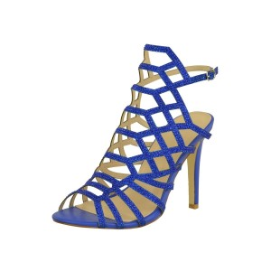 Blue Caged Evening Shoes Rhinestones Stiletto Heels Sandals