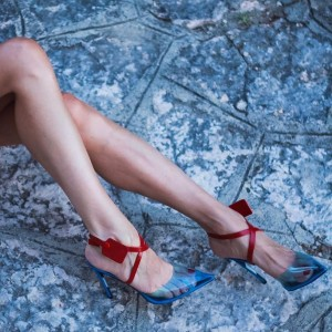 Blue and Red PVC Cross Over Agraffe Stiletto Heel Slingback Pumps