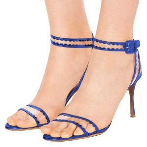 Blue Clear PVC Ankle Strap Heels Sandals
