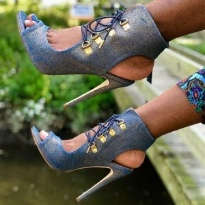 Blue Denim Boots Peep Toe Lace Up Stiletto Heel Summer Boots