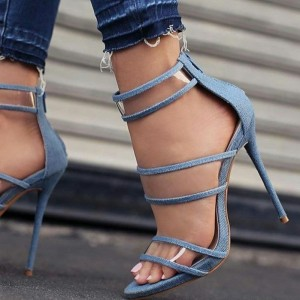 Blue Denim Clear Heels Sandals Open Toe Stilettos Ankle Strap Sandals