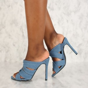 Blue Denim Open Toe Strappy Stiletto Heel Mules Sandals