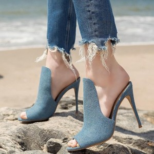 Blue Denim Peep Toe Stiletto Heel Mule for Women