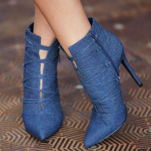 Blue Denim Pointy Toe Lace up Boots Stiletto Heel Ankle Booties