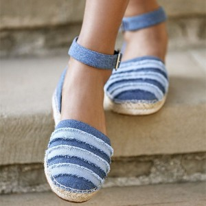 Blue Denim Ankle Strap School Shoes Straw Comfortable Flats