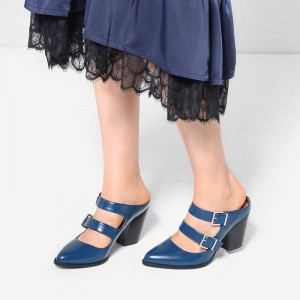 Blue Double Straps Buckles Block Heel Mule
