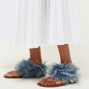 Blue Feather Flip Flops Flat Sandals