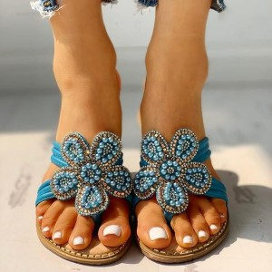 Blue Flat Sandals Beaded Flower Flip Flops Sandals