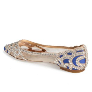 Blue Flat Wedding Shoes Pointy Toe Rhinestone Hotfix Bridal Shoes