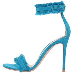 Blue Fringe Suede Ankle Strap Sandals