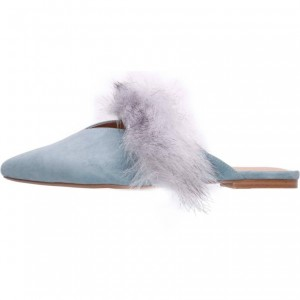 Blue Fur Mules Flats for Women