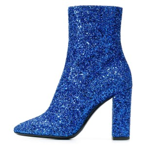 Blue Glitter Boots Chunky Heel Almond Toe Ankle Boots