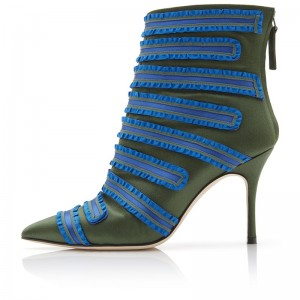 Blue Green Satin Fashion Boots Stiletto Heel Ankle Boots