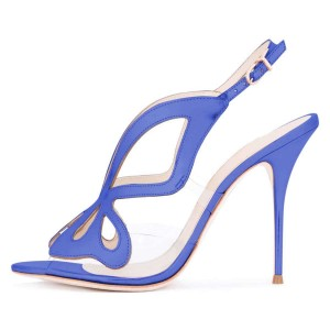 Blue Hollow Out Clear PVC Slingback Heels Sandals