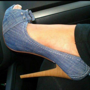 Blue Jean Heels Peep Toe Denim Stiletto Heel Platform Pumps