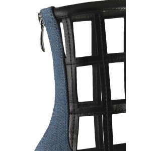 Blue Jeans Grid Fashion Boots Pointy Toe Chunky Heels Ankle Boots