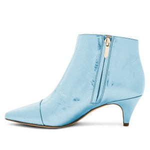 Blue Kitten Heel Boots Pointy Toe Fashion Ankle Booties